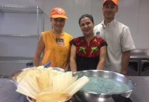Loreta Ruiz (center) runs La Vegana Mexicana, a food pop-up based in Southern California, with her children, Loreta Sierra (left) and Luis Sierra.